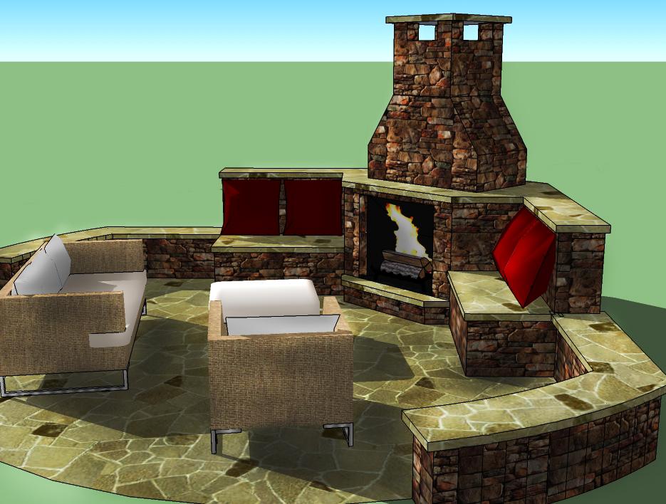 Outdoor Fireplace Model - HDG Landscape Design